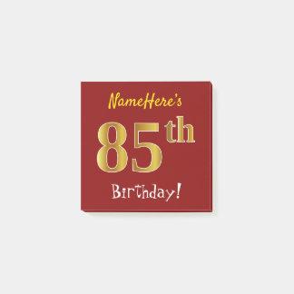 Bloco Post-it Vermelho, aniversário do ouro do falso 85th, com