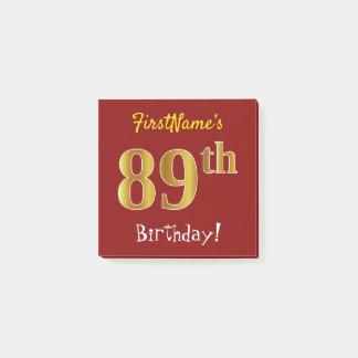 Bloco Post-it Vermelho, aniversário do ouro do falso 89th, com