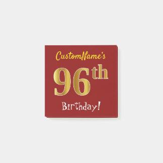 Bloco Post-it Vermelho, aniversário do ouro do falso 96th, com