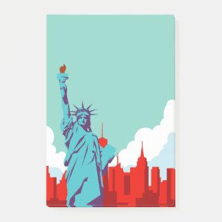 Bloco Post-it Viagem da Nova Iorque da estátua da liberdade do