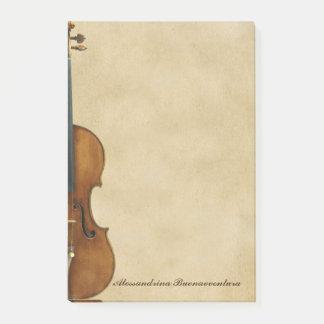 Bloco Post-it Violino no nome customizável do olhar do