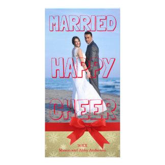 Bloco vermelho casado do elogio feliz - cartão com