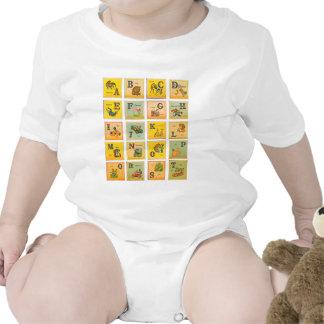 Blocos do alfabeto do vintage macacãozinhos para bebê