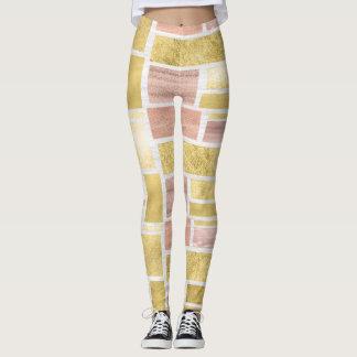 Blocos malva da folha do rosa na moda do ouro leggings