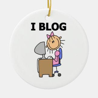 Blogger da menina ornamento de cerâmica redondo