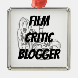 Blogger do crítico de cinema ornamento quadrado cor prata
