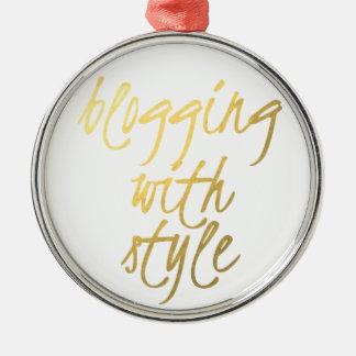 Blogging com estilo - roteiro do ouro ornamento redondo cor prata
