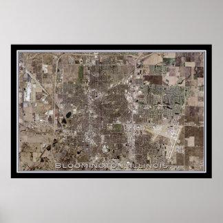 Bloomington Illinois do mapa do satélite do espaço Pôster