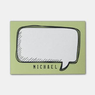 Bloquinho De Notas A bolha branca engraçada da conversa no verde