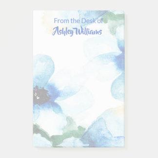 Bloquinho De Notas Aguarela azul floral bonito