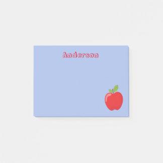 Bloquinho De Notas Apple vermelho no fundo azul
