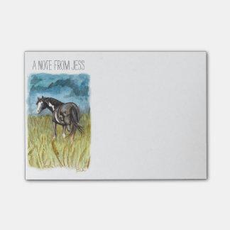 Bloquinho De Notas Arte preto e branco da aguarela do cavalo da