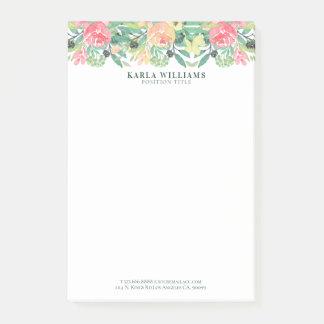 Bloquinho De Notas Beira colorida das flores das aguarelas