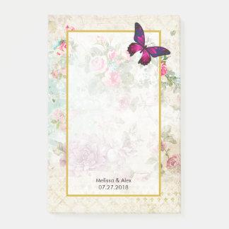 Bloquinho De Notas Borboleta cor-de-rosa e rosas gastos do vintage