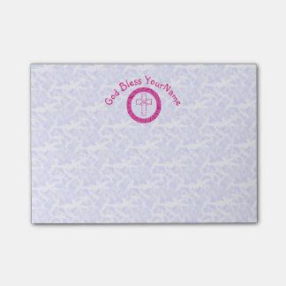 Bloquinho De Notas Branco cristão cor-de-rosa quente ou brilhante da