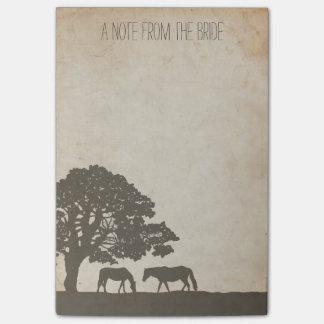 Bloquinho De Notas Casamento da fazenda do cavalo do vintage de Brown
