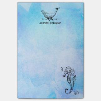 Bloquinho De Notas Cavalo marinho, baleia e Seashell na aguarela azul