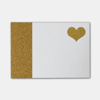 Bloquinho De Notas Coração do brilho do ouro do FALSO (plano