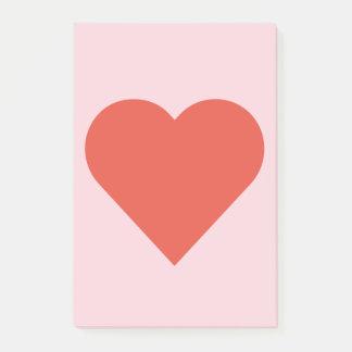 Bloquinho De Notas Coração vermelho na nota de post-it cor-de-rosa do