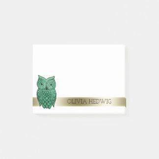 Bloquinho De Notas Coruja bonito ouro verde conhecido personalizado
