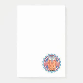 Bloquinho De Notas Coruja tribal pequena bonito em cores brilhantes
