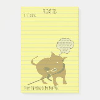 Bloquinho De Notas Costume engraçado 4x6 das prioridades do cão
