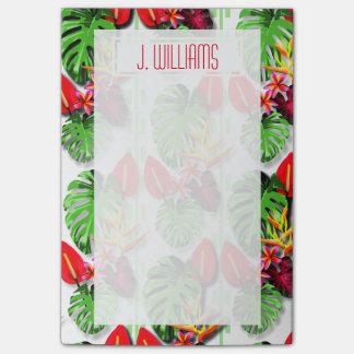Bloquinho De Notas Flor tropical colorida da folha das meninas