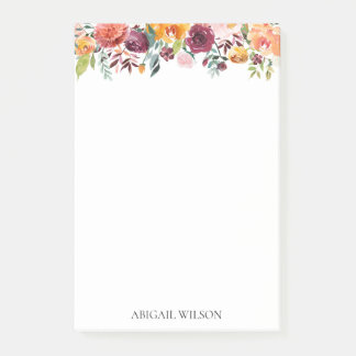 Bloquinho De Notas Floral chique da aguarela personalizado