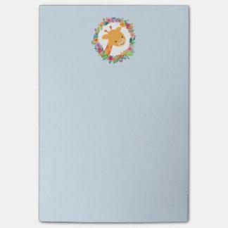 Bloquinho De Notas Girafa bonito com uma grinalda floral da aguarela