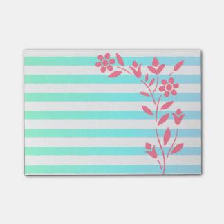 Bloquinho De Notas Luz - floral listrado azul