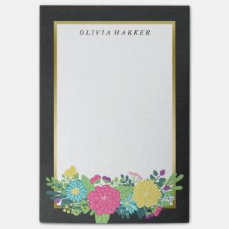 Bloquinho De Notas Nome colorido do costume do ouro das flores & do