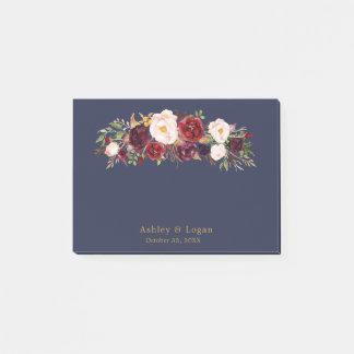 Bloquinho De Notas Notas de post-it florais elegantes do casamento do