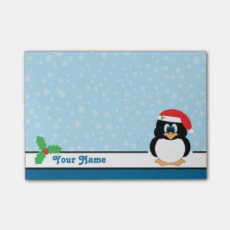 Bloquinho De Notas Notas do Cargo-it® do Natal do pinguim do floco de