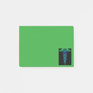 Bloquinho De Notas Notas pegajosas do caduceus azul e verde