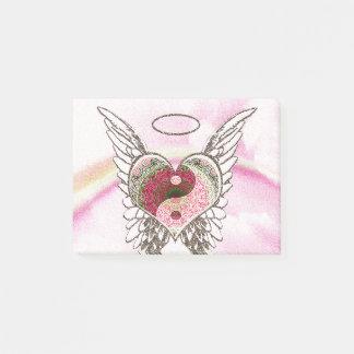 Bloquinho De Notas O anjo do coração de Yin Yang voa a aguarela