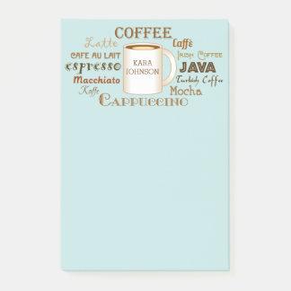 Bloquinho De Notas Os nomes do café personalizaram notas de post-it