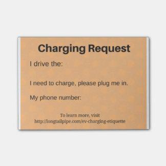 Bloquinho De Notas Pedido de carregamento do carro elétrico