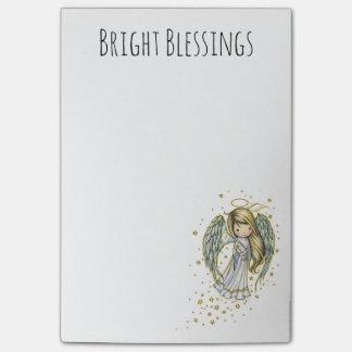 Bloquinho De Notas Post-it pegajosos do anjo bonito brilhante das
