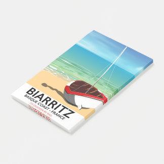Bloquinho De Notas Poster de viagens da praia de Biarritz France