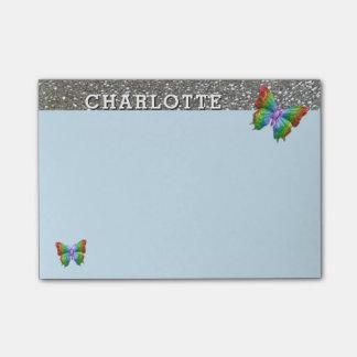 Bloquinho De Notas Prata azul personalizada da borboleta do arco-íris