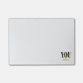 Bloquinho De Notas Preto, branco & obrigado do ouro você