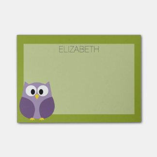 Bloquinho De Notas Roxo bonito da coruja dos desenhos animados e nome