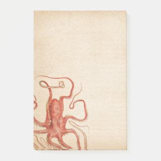Bloquinho De Notas Sepia envelhecido Steampunk do mar polvo vermelho