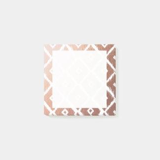 Bloquinho De Notas Teste padrão tribal cor-de-rosa da folha de ouro