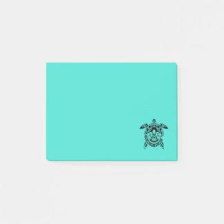 Bloquinho De Notas Turquesa tribal feita sob encomenda da tartaruga