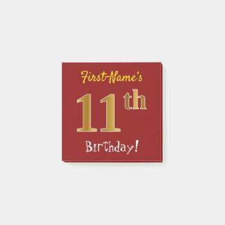 Bloquinho De Notas Vermelho, aniversário do ouro do falso 11o, com