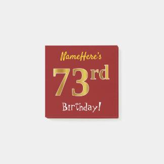 Bloquinho De Notas Vermelho, aniversário do ouro do falso 73rd, com