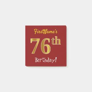 Bloquinho De Notas Vermelho, aniversário do ouro do falso 76th, com