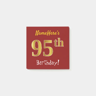 Bloquinho De Notas Vermelho, aniversário do ouro do falso 95th, com