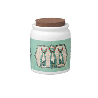 Blue French Bulldogs Cookie Jar Candy Dish